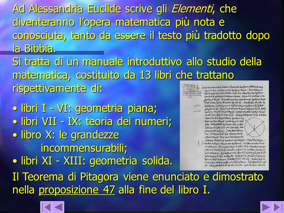 Ad Alessandria Euclide scrive gli Elementi, che diventeranno lopera matematica più nota e conosciuta, tanto da essere il testo più tradotto dopo la Bi
