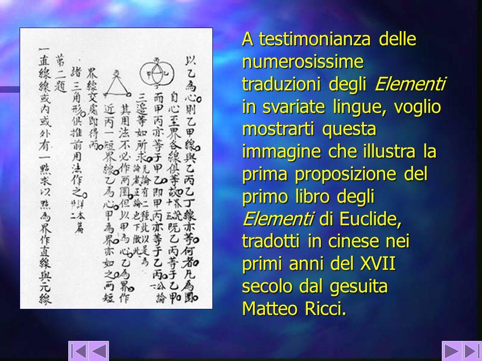 A testimonianza delle numerosissime traduzioni degli Elementi in svariate lingue, voglio mostrarti questa immagine che illustra la prima proposizione