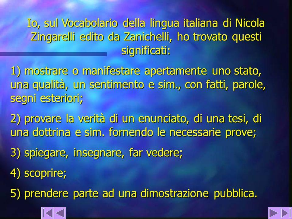 Io, sul Vocabolario della lingua italiana di Nicola Zingarelli edito da Zanichelli, ho trovato questi significati: 1) mostrare o manifestare apertamen