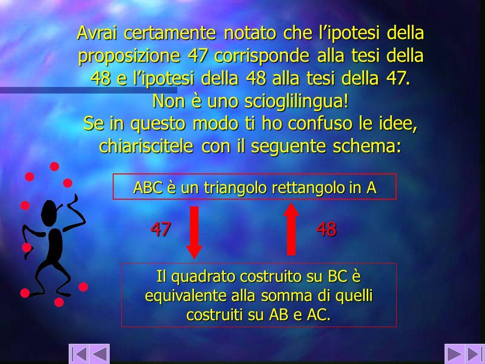 Avrai certamente notato che lipotesi della proposizione 47 corrisponde alla tesi della 48 e lipotesi della 48 alla tesi della 47. Non è uno scioglilin