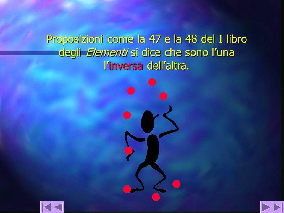 Proposizioni come la 47 e la 48 del I libro degli Elementi si dice che sono luna linversa dellaltra.