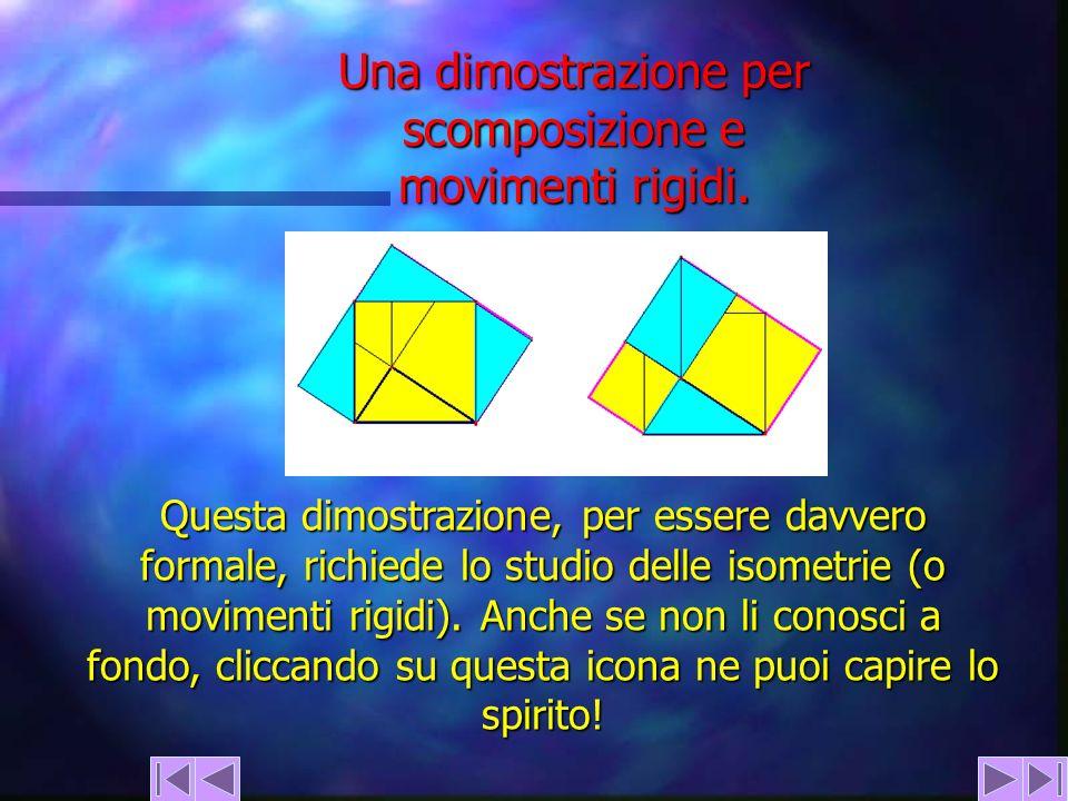 Una dimostrazione per scomposizione e movimenti rigidi. Questa dimostrazione, per essere davvero formale, richiede lo studio delle isometrie (o movime
