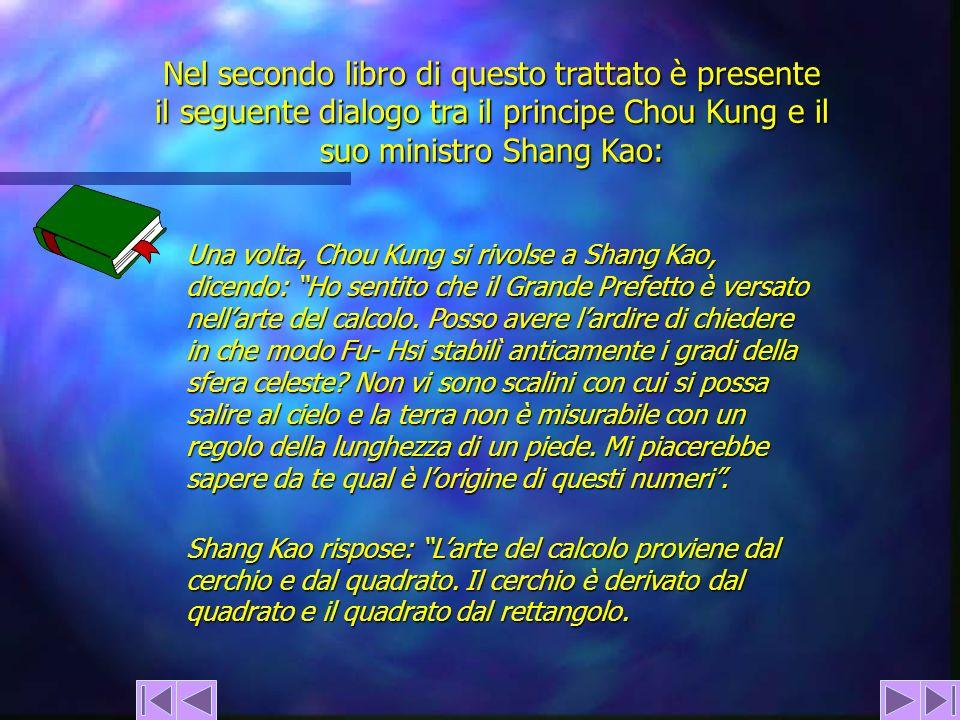 Nel secondo libro di questo trattato è presente il seguente dialogo tra il principe Chou Kung e il suo ministro Shang Kao: Una volta, Chou Kung si riv