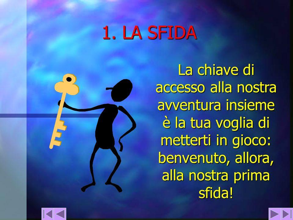 1. LA SFIDA La chiave di accesso alla nostra avventura insieme è la tua voglia di metterti in gioco: benvenuto, allora, alla nostra prima sfida!