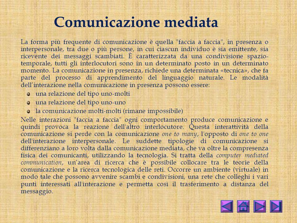 Comunicazione mediata La forma più frequente di comunicazione è quella faccia a faccia , in presenza o interpersonale, tra due o più persone, in cui ciascun individuo è sia emittente, sia ricevente dei messaggi scambiati.