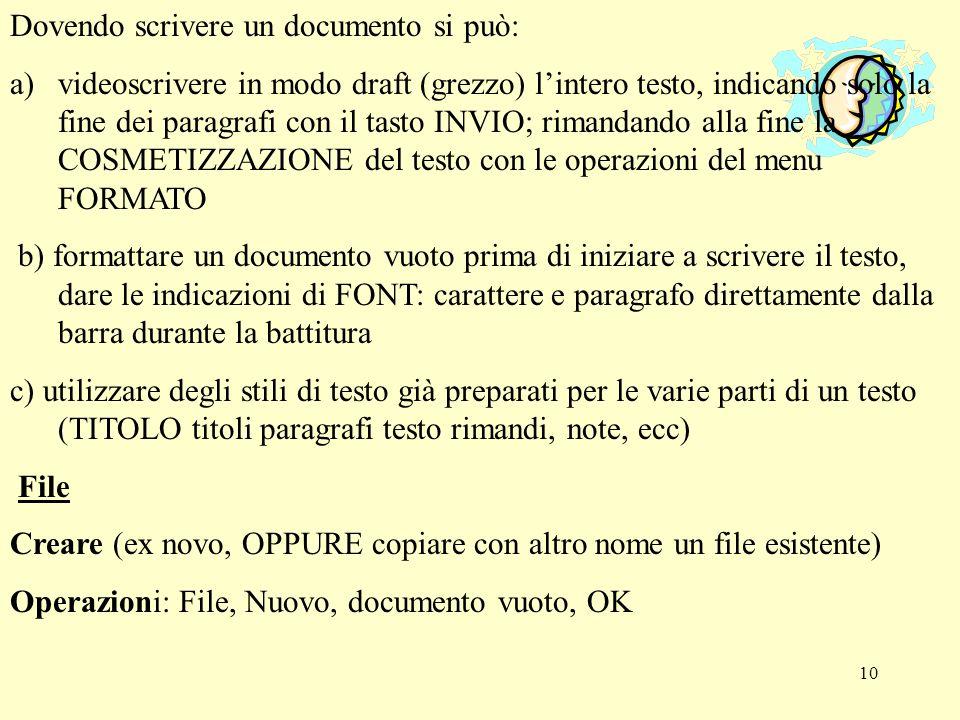 11 Salvare con nome: Il documento nuovo per essere conservato in modo stabile deve ricevere un nome (come il titolo di una cartella in un armadio-archivio) Operazioni: File - Salva con nome - Salva in (selezionare la cartella agendo sulla freccia a dx del rettangolo, trovata lunità (floppy o C) e la cartella selezionarla con doppio click), completare Nome File con un nome (fatto da max otto caratteri alfanumerici senza spazio (modo DOS) oppure con una sequenza max di 254 caratteri(modo Win95), lasciare per ora inalterato Tipo file: documento Word, fare click su Salva (in alto a dx) salvare semplice: - Fare click sulla terza icona del terzo rigo (barra degli strumenti) a forma di dischetto Oppure: - File-Salva