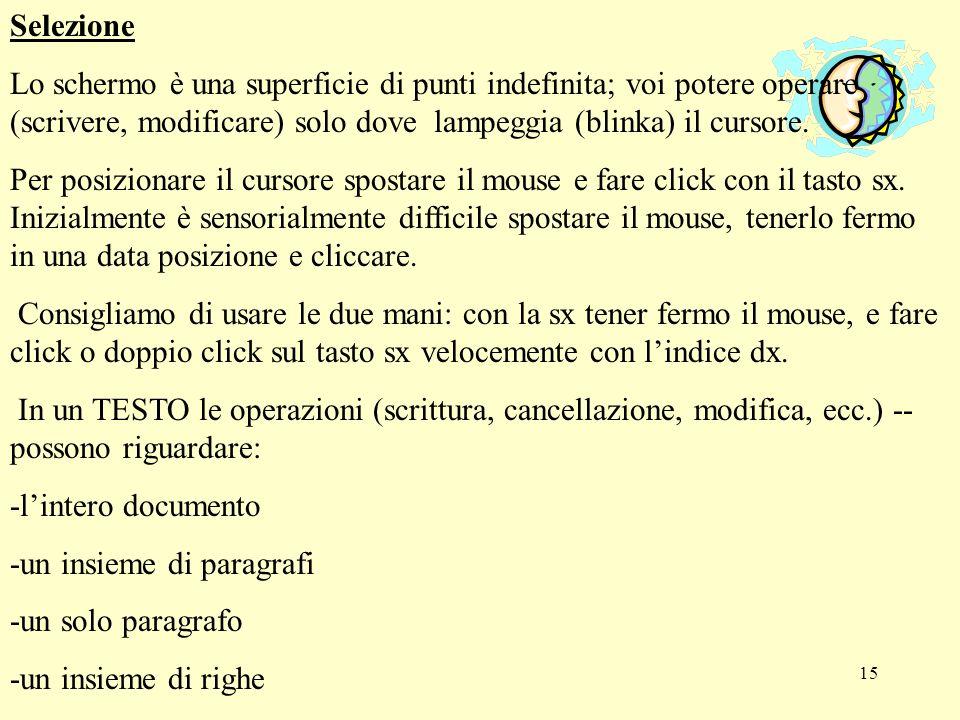 15 Selezione Lo schermo è una superficie di punti indefinita; voi potere operare (scrivere, modificare) solo dove lampeggia (blinka) il cursore. Per p