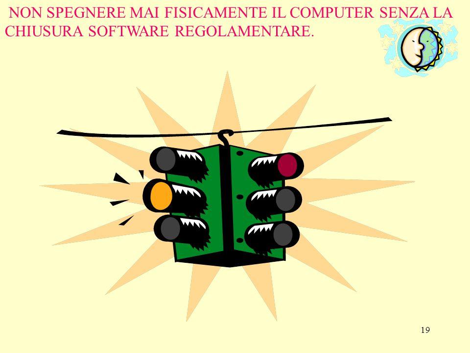 19 NON SPEGNERE MAI FISICAMENTE IL COMPUTER SENZA LA CHIUSURA SOFTWARE REGOLAMENTARE.