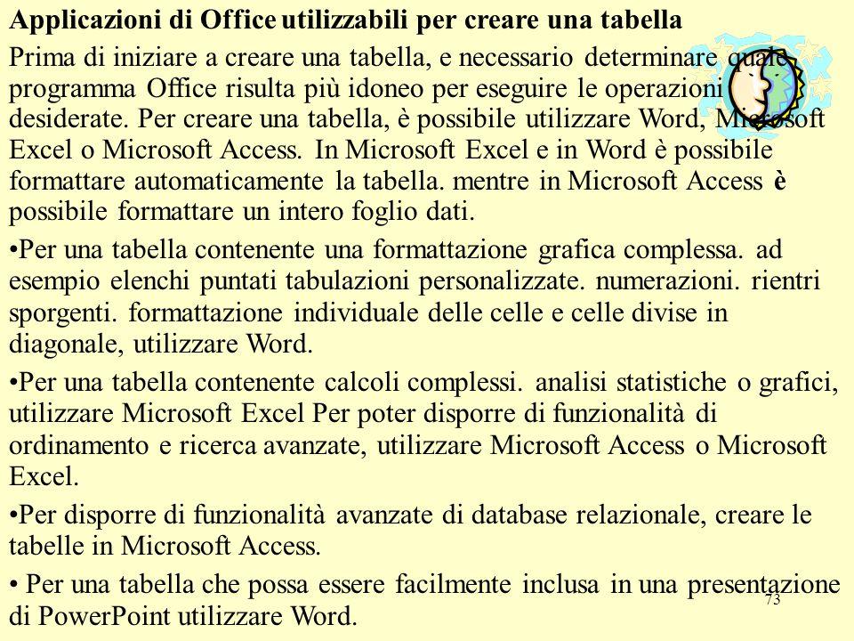 73 Applicazioni di Office utilizzabili per creare una tabella Prima di iniziare a creare una tabella, e necessario determinare quale programma Office