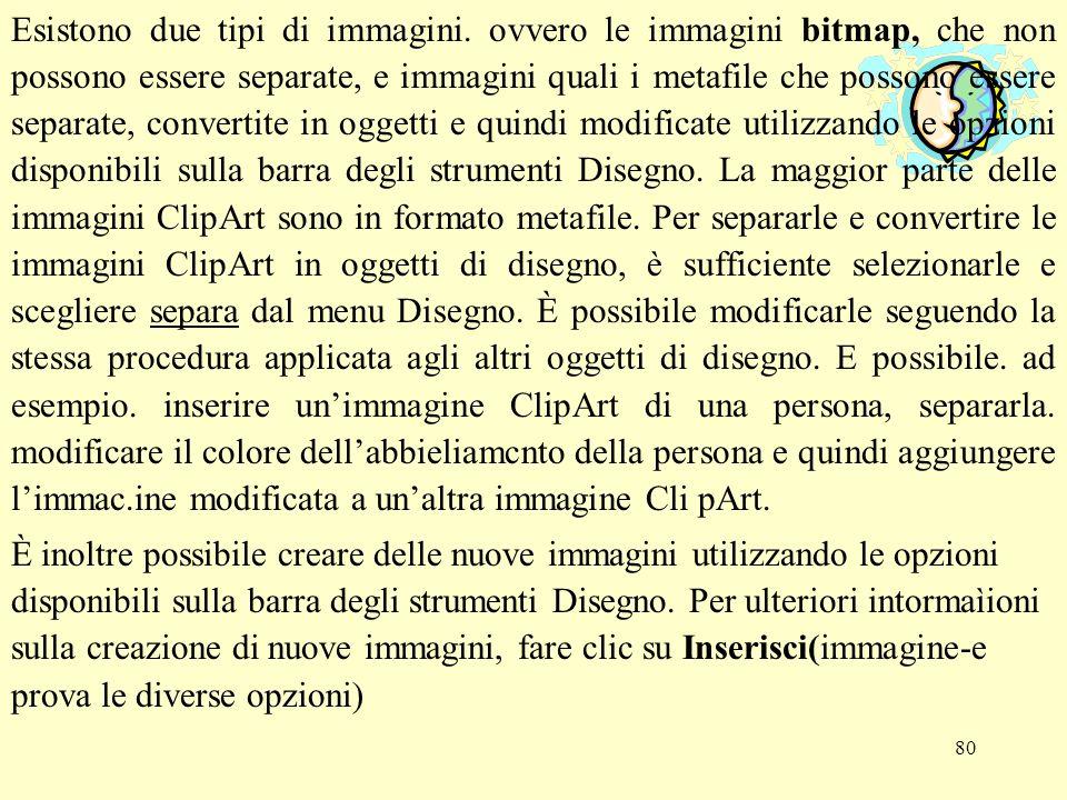 80 Esistono due tipi di immagini. ovvero le immagini bitmap, che non possono essere separate, e immagini quali i metafile che possono essere separate,
