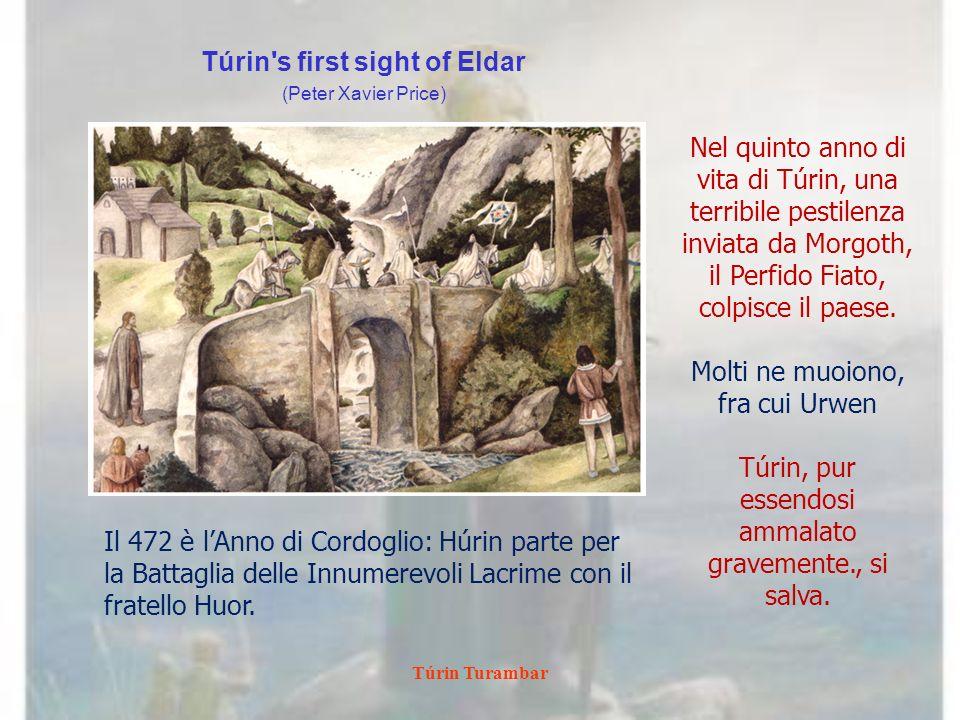 Túrin Turambar Túrin and His Band Led to Amon Rûdh Ted Nasmith Per aver salva la vita, Mîm deve ospitare Túrin nella sua casa sull Amon Rûdh, il Colle Calvo, che per questo motivo egli rinomina Bar-en- Danwedh, Casa di Riscatto.