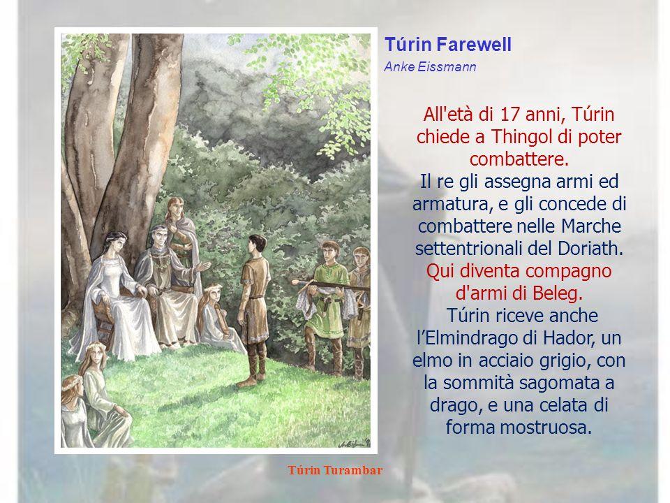 Túrin Turambar Túrin is Led to the Mound of Finduilas Ted Nasmith I Boscaioli del Brethil lo informano che la principessa è stata uccisa dagli orchi.