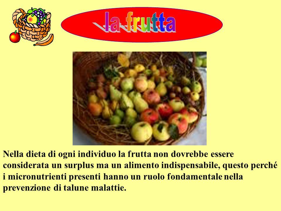 Nella dieta di ogni individuo la frutta non dovrebbe essere considerata un surplus ma un alimento indispensabile, questo perché i micronutrienti prese