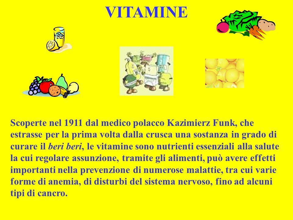 Scoperte nel 1911 dal medico polacco Kazimierz Funk, che estrasse per la prima volta dalla crusca una sostanza in grado di curare il beri beri, le vit