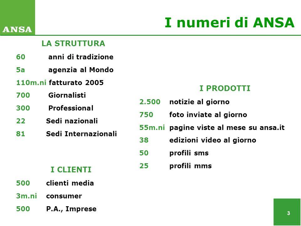 4 I mercati/prodotti di ANSA Media 500 clienti Consumer 3 m.ni clienti P.A.