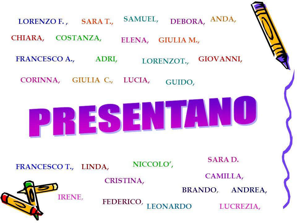IRENE, BRANDO, NICCOLO, FEDERICO, LUCREZIA, LORENZO F.,SARA T., CHIARA, SAMUEL, ELENA, DEBORA, GIULIA M., ANDA, COSTANZA, FRANCESCO A., CRISTINA, LORENZOT., GIOVANNI, CORINNA,GIULIA C., CAMILLA, FRANCESCO T., LUCIA, GUIDO, LINDA, ANDREA, SARA D.