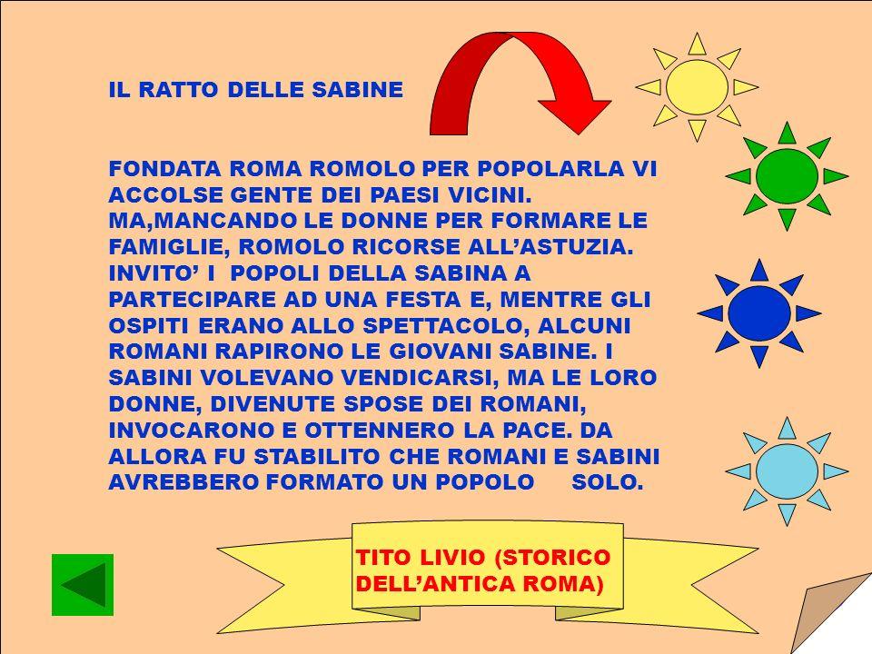 IL RATTO DELLE SABINE FONDATA ROMA ROMOLO PER POPOLARLA VI ACCOLSE GENTE DEI PAESI VICINI.