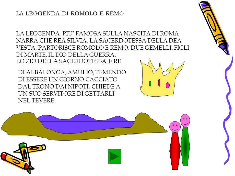 LA LEGGENDA DI ROMOLO E REMO LA LEGGENDA PIU FAMOSA SULLA NASCITA DI ROMA NARRA CHE REA SILVIA, LA SACERDOTESSA DELLA DEA VESTA, PARTORISCE ROMOLO E REMO, DUE GEMELLI, FIGLI DI MARTE, IL DIO DELLA GUERRA.