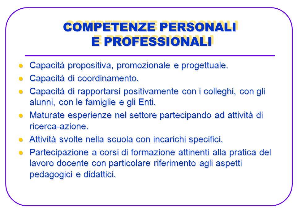 Capacità propositiva, promozionale e progettuale.Capacità propositiva, promozionale e progettuale.