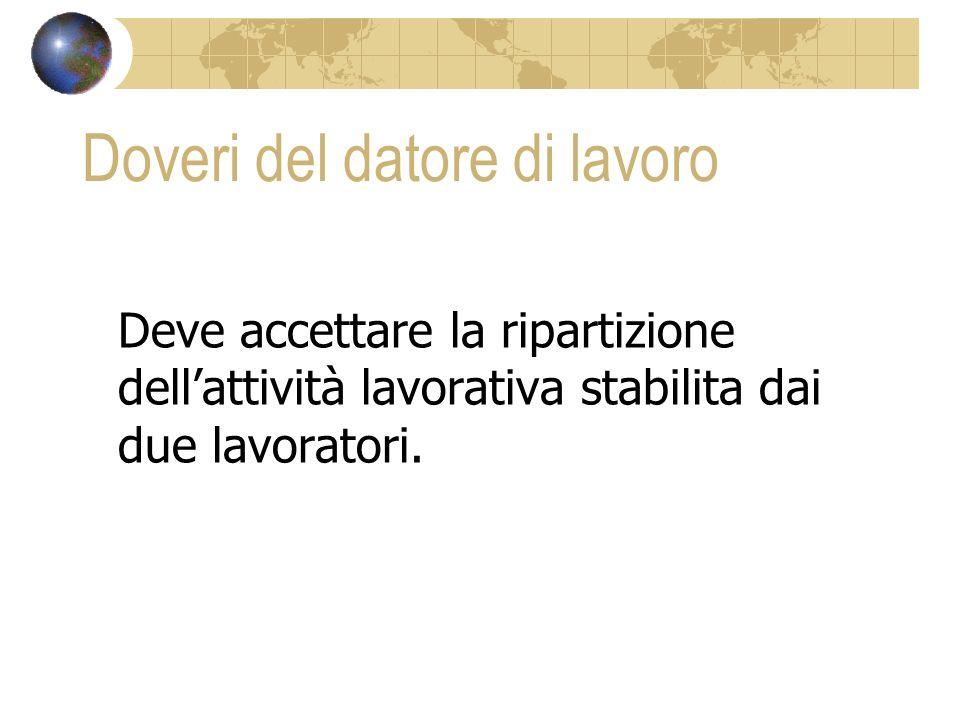 Doveri del datore di lavoro Deve accettare la ripartizione dellattività lavorativa stabilita dai due lavoratori.