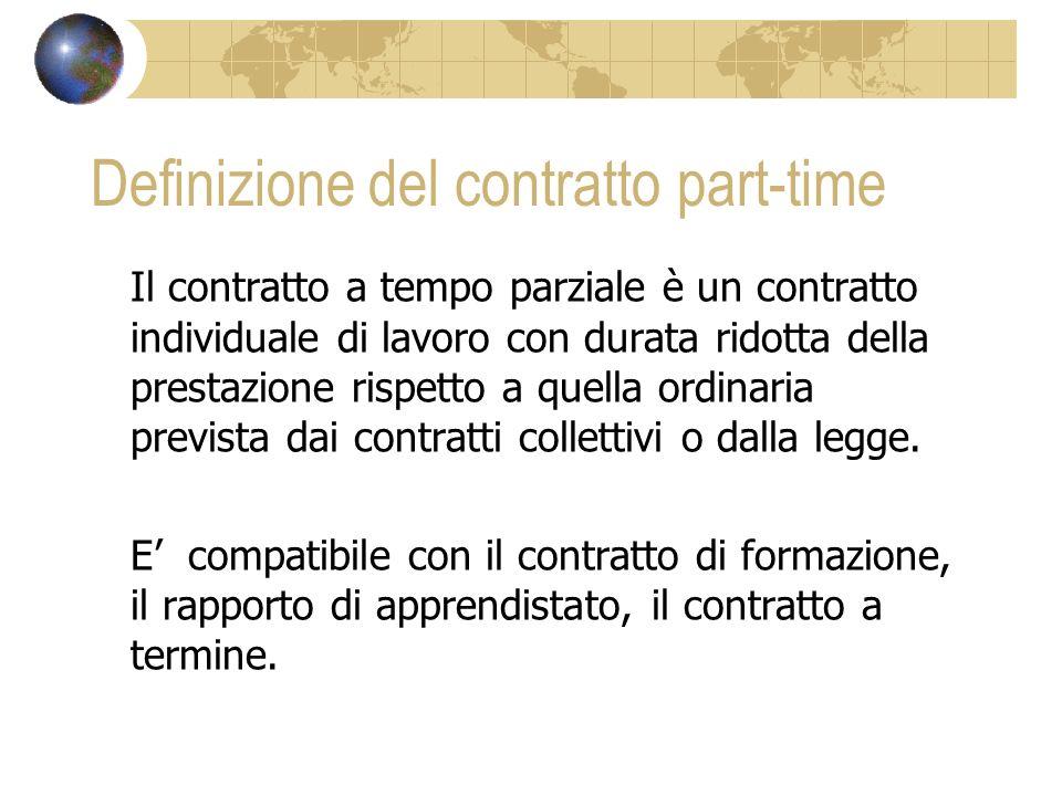 Definizione del contratto part-time Il contratto a tempo parziale è un contratto individuale di lavoro con durata ridotta della prestazione rispetto a