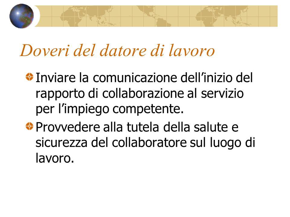 Doveri del datore di lavoro Inviare la comunicazione dellinizio del rapporto di collaborazione al servizio per limpiego competente. Provvedere alla tu