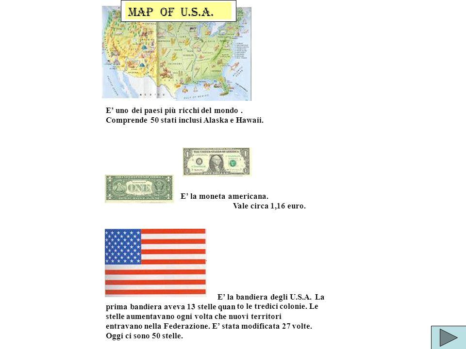 E uno dei paesi più ricchi del mondo. Comprende 50 stati inclusi Alaska e Hawaii. E la moneta americana. Vale circa 1,16 euro. E la bandiera degli U.S