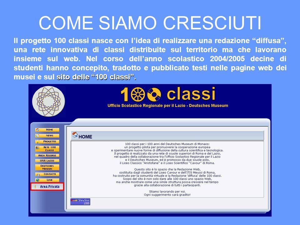 COME SIAMO CRESCIUTI sito delle 100 classi. Il progetto 100 classi nasce con lidea di realizzare una redazione diffusa, una rete innovativa di classi