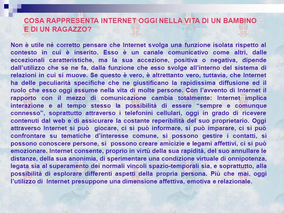 Non è utile né corretto pensare che Internet svolga una funzione isolata rispetto al contesto in cui è inserito.