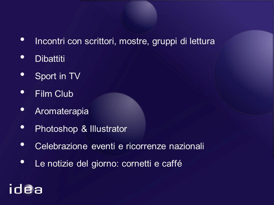 Incontri con scrittori, mostre, gruppi di lettura Dibattiti Sport in TV Film Club Aromaterapia Photoshop & Illustrator Celebrazione eventi e ricorrenze nazionali Le notizie del giorno: cornetti e caffé