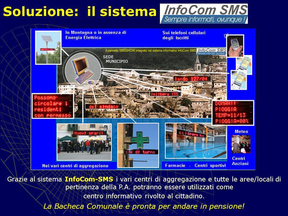 Soluzione: il sistema Grazie al sistema InfoCom-SMS i vari centri di aggregazione e tutte le aree/locali di pertinenza della P.A.