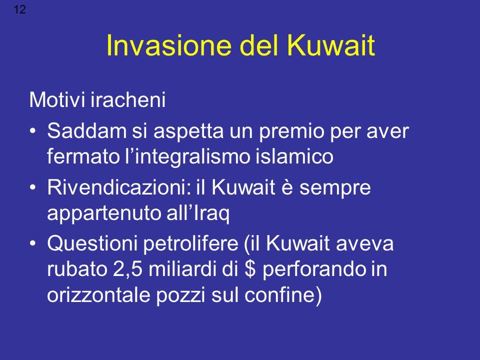 Invasione del Kuwait Motivi iracheni Saddam si aspetta un premio per aver fermato lintegralismo islamico Rivendicazioni: il Kuwait è sempre appartenut