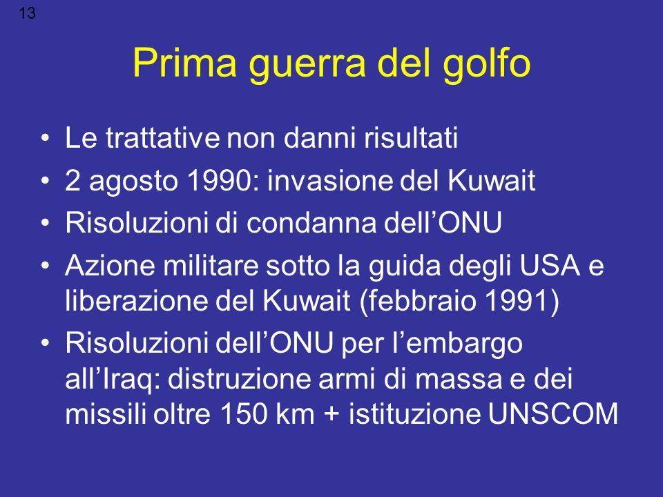 Prima guerra del golfo Le trattative non danni risultati 2 agosto 1990: invasione del Kuwait Risoluzioni di condanna dellONU Azione militare sotto la