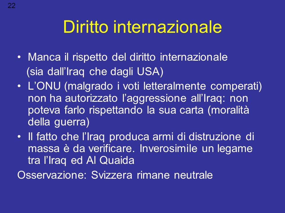 Diritto internazionale Manca il rispetto del diritto internazionale (sia dallIraq che dagli USA) LONU (malgrado i voti letteralmente comperati) non ha
