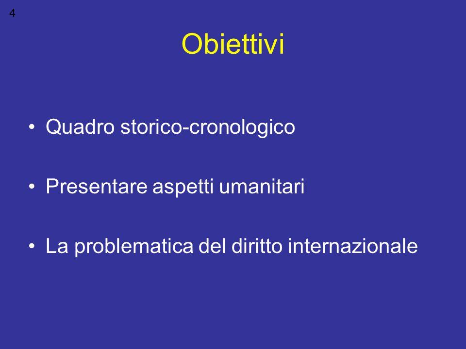 Obiettivi Quadro storico-cronologico Presentare aspetti umanitari La problematica del diritto internazionale 4