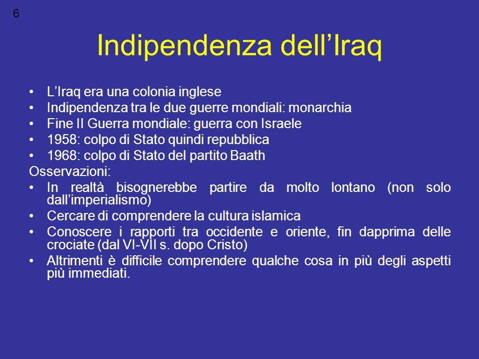 Indipendenza dellIraq LIraq era una colonia inglese Indipendenza tra le due guerre mondiali: monarchia Fine II Guerra mondiale: guerra con Israele 195