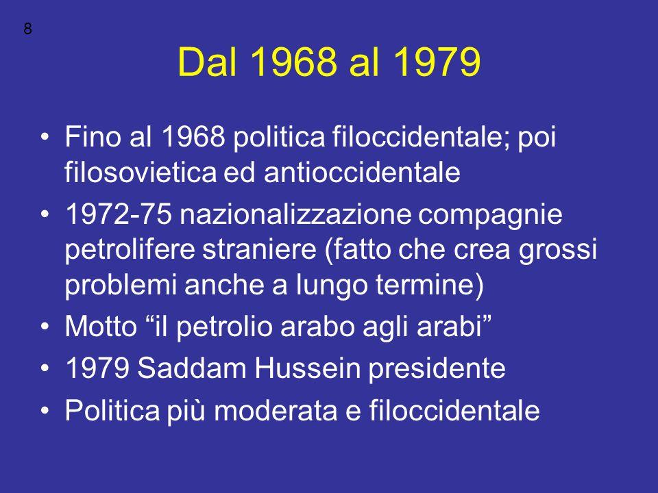 Dal 1968 al 1979 Fino al 1968 politica filoccidentale; poi filosovietica ed antioccidentale 1972-75 nazionalizzazione compagnie petrolifere straniere