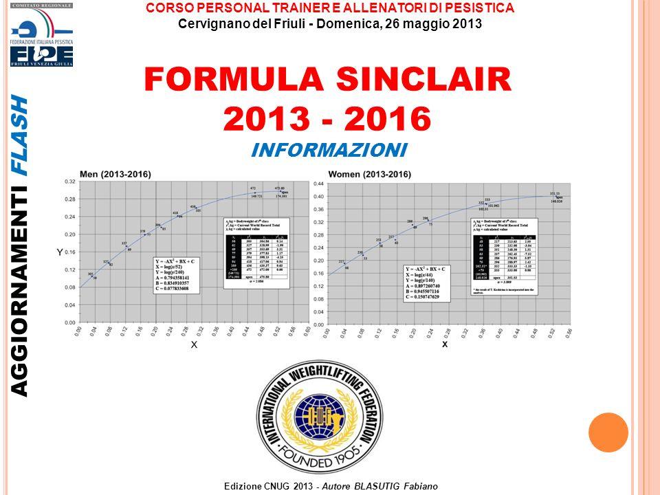 FORMULA SINCLAIR 2013 - 2016 AGGIORNAMENTI FLASH INFORMAZIONI Edizione CNUG 2013 - Autore BLASUTIG Fabiano CORSO PERSONAL TRAINER E ALLENATORI DI PESI