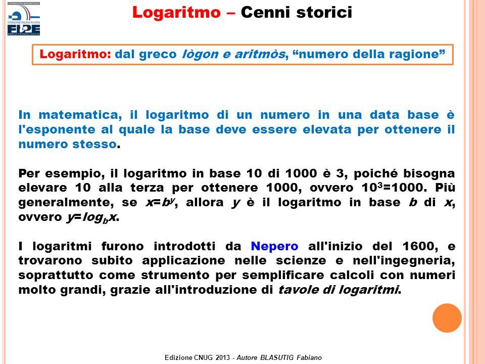 In matematica, il logaritmo di un numero in una data base è l'esponente al quale la base deve essere elevata per ottenere il numero stesso. Per esempi