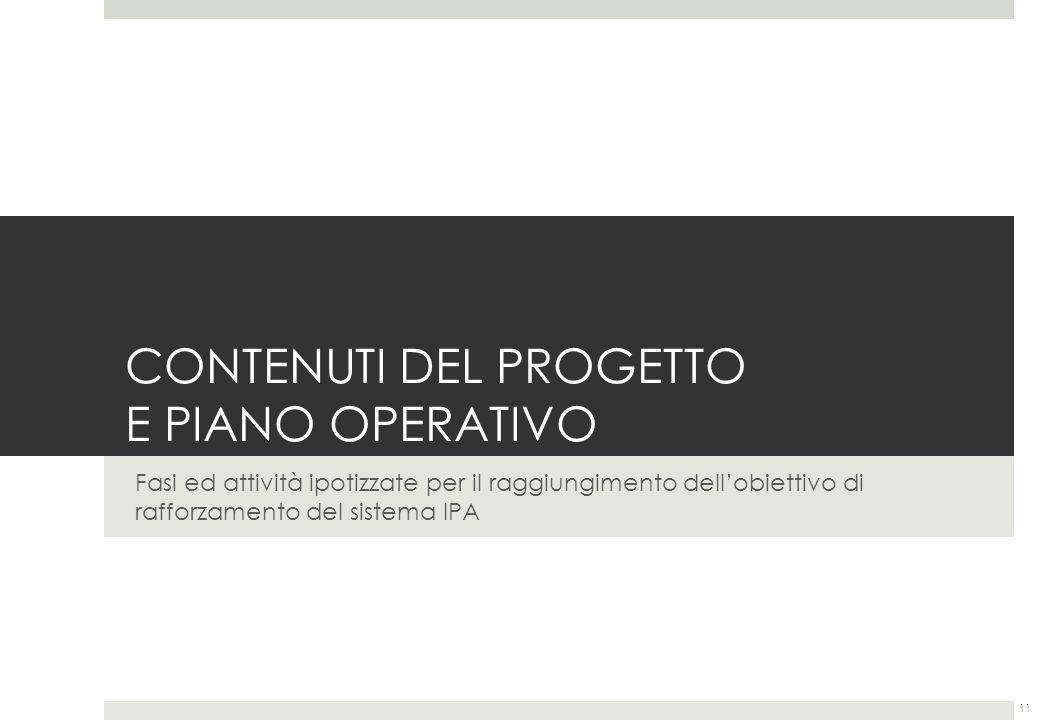 CONTENUTI DEL PROGETTO E PIANO OPERATIVO Fasi ed attività ipotizzate per il raggiungimento dellobiettivo di rafforzamento del sistema IPA 11