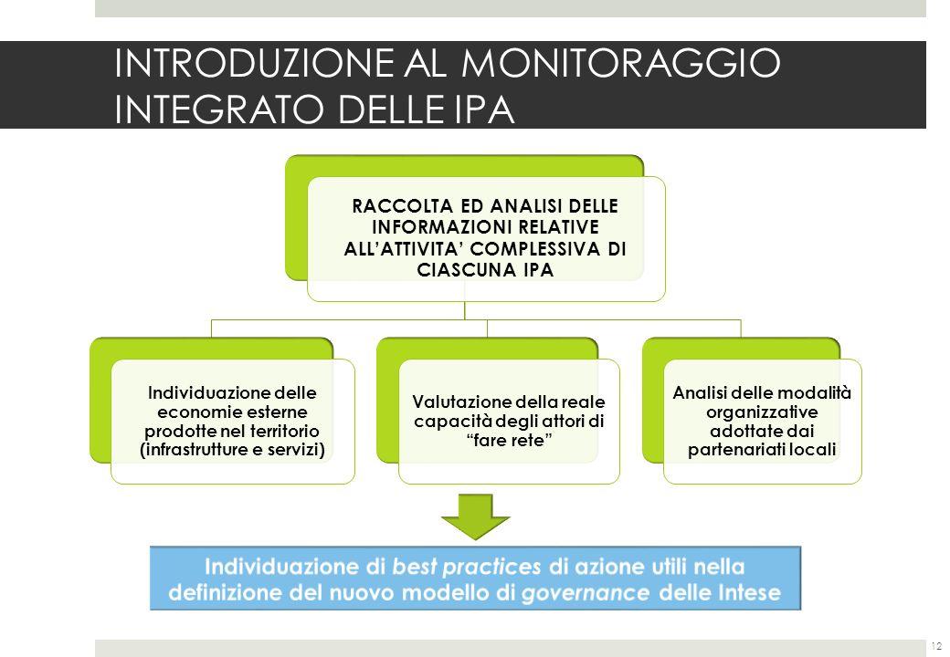 INTRODUZIONE AL MONITORAGGIO INTEGRATO DELLE IPA 12 RACCOLTA ED ANALISI DELLE INFORMAZIONI RELATIVE ALLATTIVITA COMPLESSIVA DI CIASCUNA IPA Individuazione delle economie esterne prodotte nel territorio (infrastrutture e servizi) Valutazione della reale capacità degli attori di fare rete Analisi delle modalità organizzative adottate dai partenariati locali