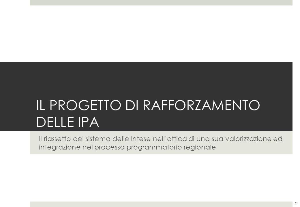 IL PROGETTO DI RAFFORZAMENTO DELLE IPA Il riassetto del sistema delle Intese nellottica di una sua valorizzazione ed integrazione nel processo programmatorio regionale 7
