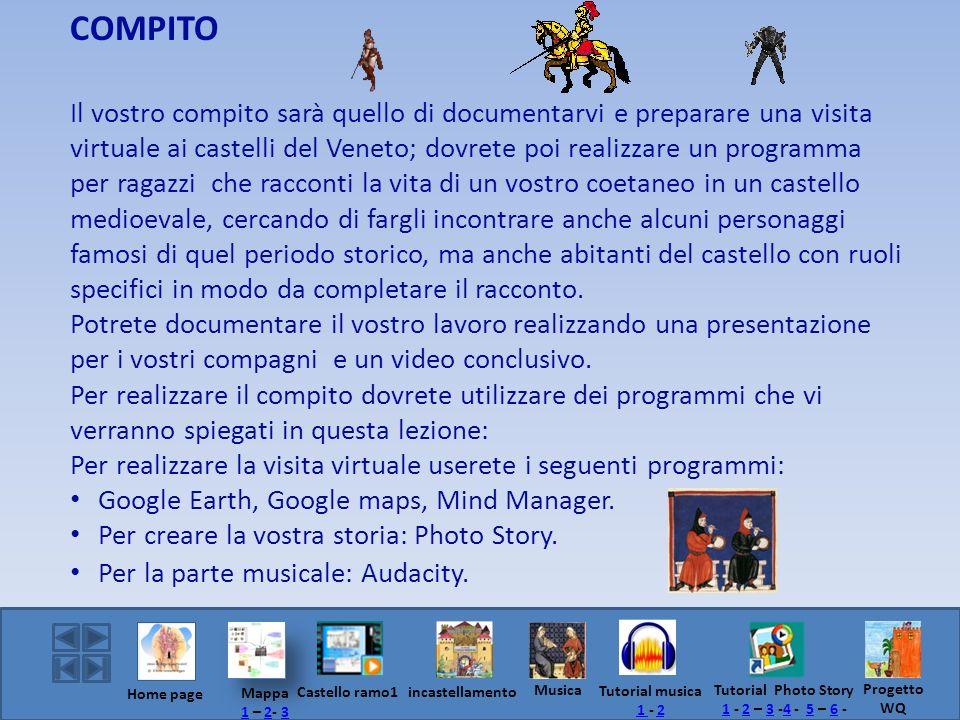 COMPITO Il vostro compito sarà quello di documentarvi e preparare una visita virtuale ai castelli del Veneto; dovrete poi realizzare un programma per