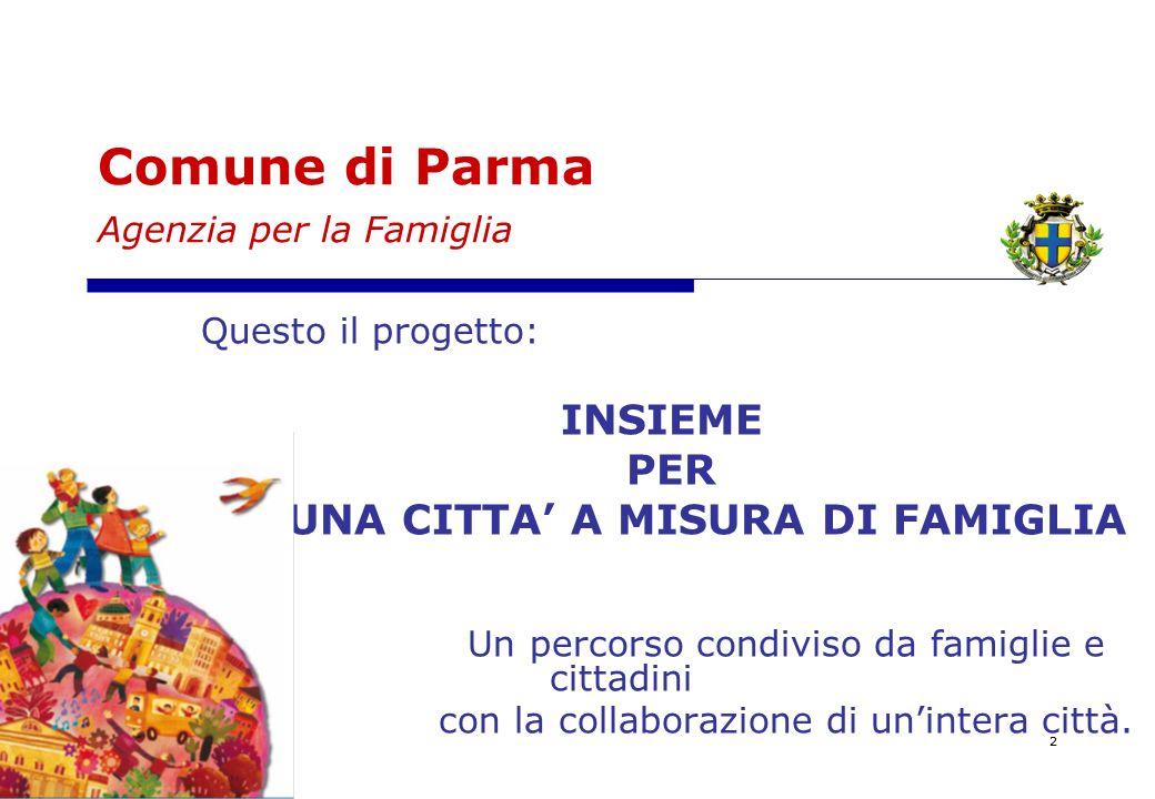22 Comune di Parma Agenzia per la Famiglia Questo il progetto: INSIEME PER UNA CITTA A MISURA DI FAMIGLIA Un percorso condiviso da famiglie e cittadini con la collaborazione di unintera città.