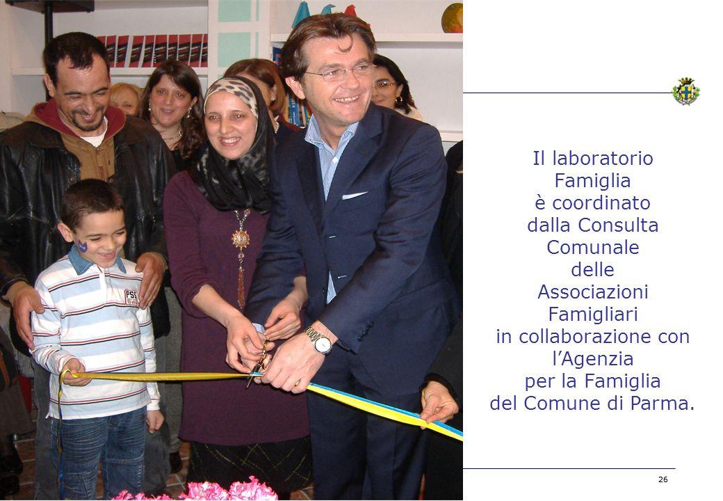 BOZZA 26 Il laboratorio Famiglia è coordinato dalla Consulta Comunale delle Associazioni Famigliari in collaborazione con lAgenzia per la Famiglia del Comune di Parma.