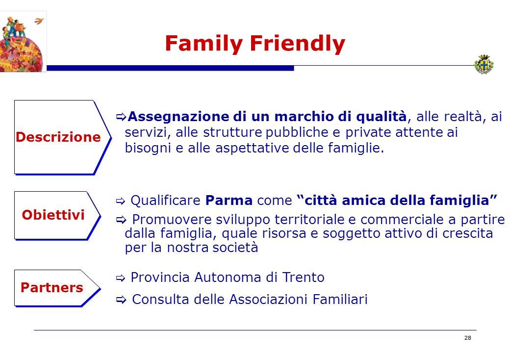 BOZZA 28 Family Friendly Descrizione Obiettivi Assegnazione di un marchio di qualità, alle realtà, ai servizi, alle strutture pubbliche e private attente ai bisogni e alle aspettative delle famiglie.