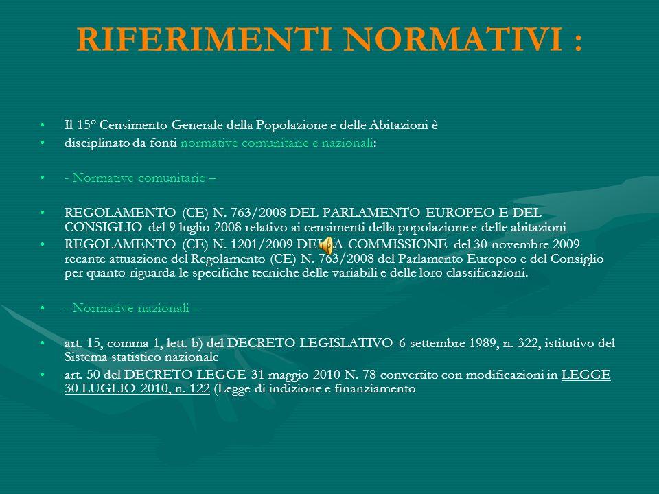 RIFERIMENTI NORMATIVI : Il 15° Censimento Generale della Popolazione e delle Abitazioni è disciplinato da fonti normative comunitarie e nazionali: - Normative comunitarie – REGOLAMENTO (CE) N.
