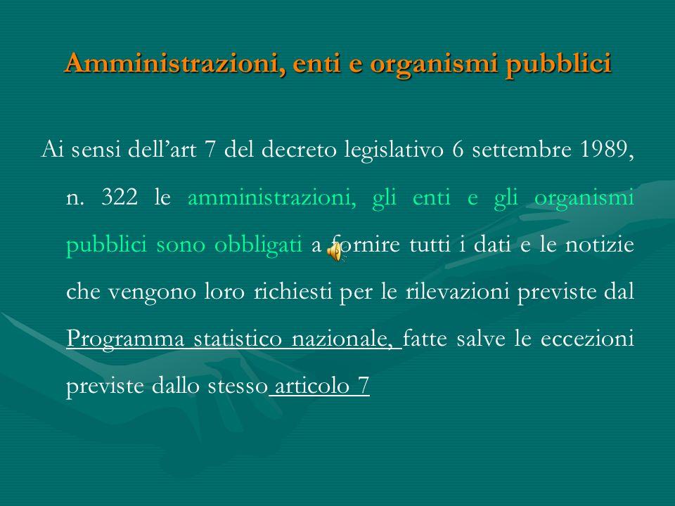 Obbligo di fornire i dati statistici Nellordinamento italiano lobbligo di risposta è sancito dallart.