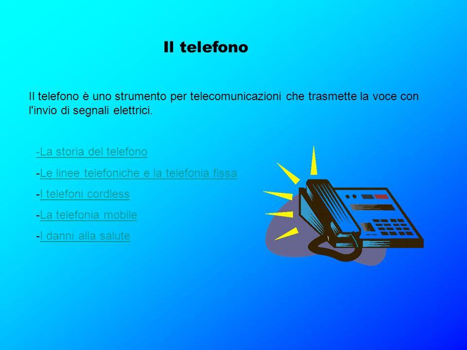 Il telefono Il telefono è uno strumento per telecomunicazioni che trasmette la voce con l'invio di segnali elettrici. -La storia del telefono -Le line