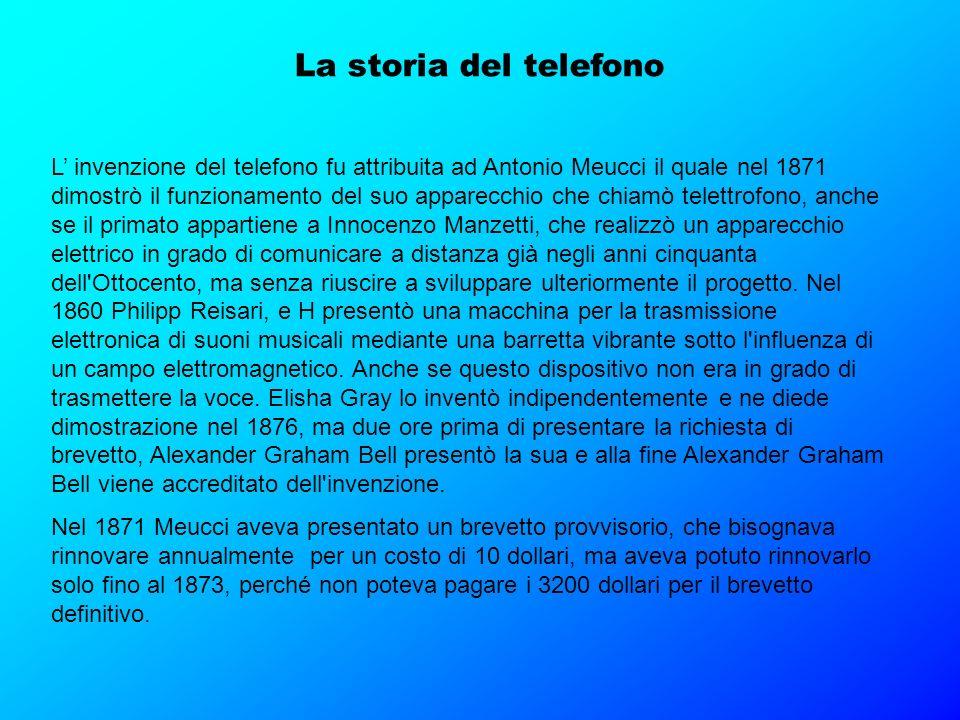 La storia del telefono L invenzione del telefono fu attribuita ad Antonio Meucci il quale nel 1871 dimostrò il funzionamento del suo apparecchio che c